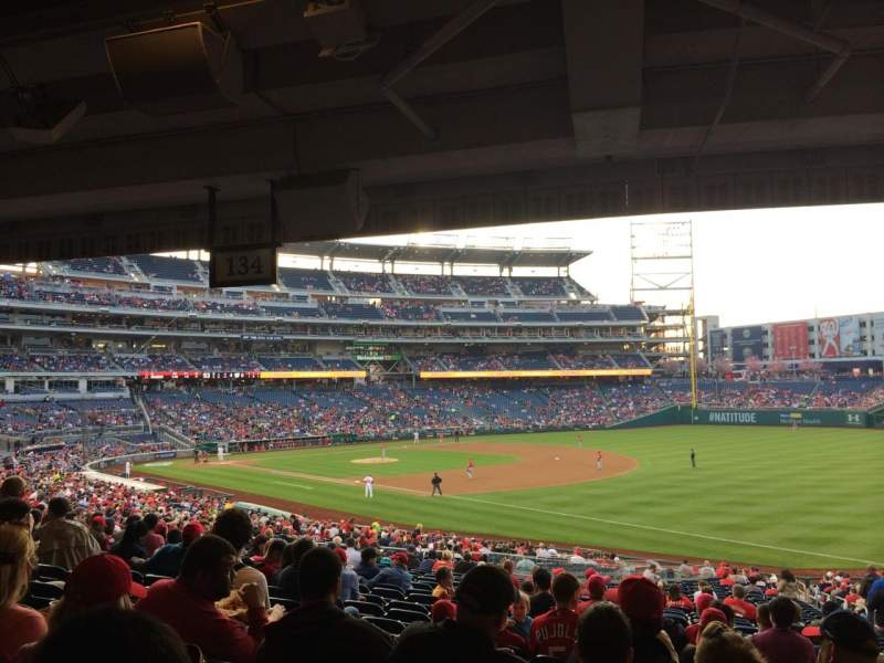Seating view for Nationals Park Section 134 Row UU Seat 6