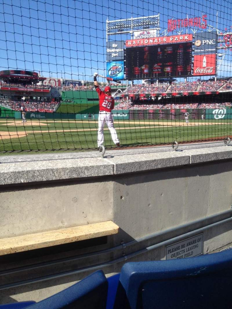 Seating view for Nationals Park Section Presidents Club E Row B