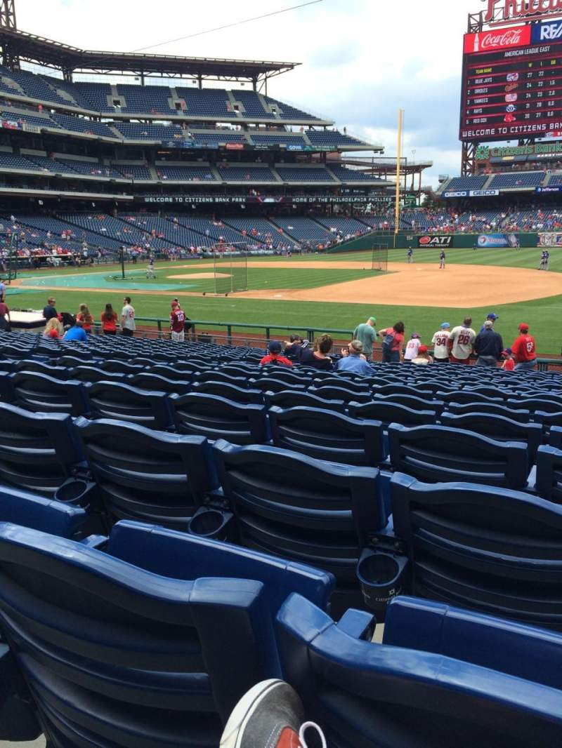 Seating view for Citizens Bank Park Section 114 Row 19 Seat 6