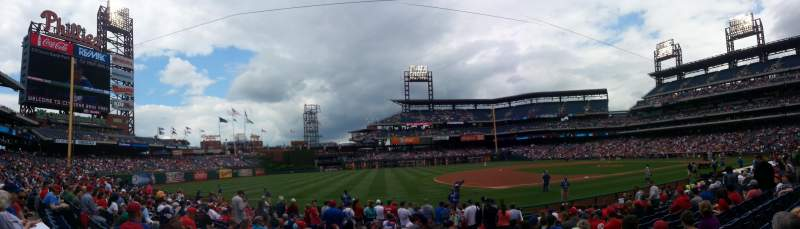 Seating view for Citizens Bank Park Section 134 Row 15 Seat 1