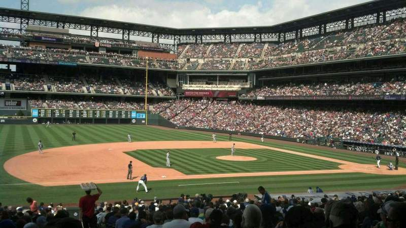 Seating view for Coors Field Section 141 Row 34 Seat 1
