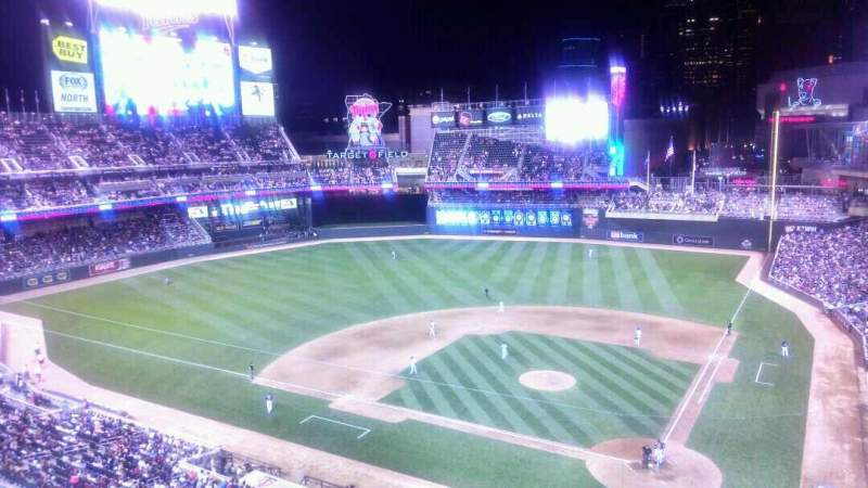 Seating view for Target Field Section 218 Row 1 Seat 5