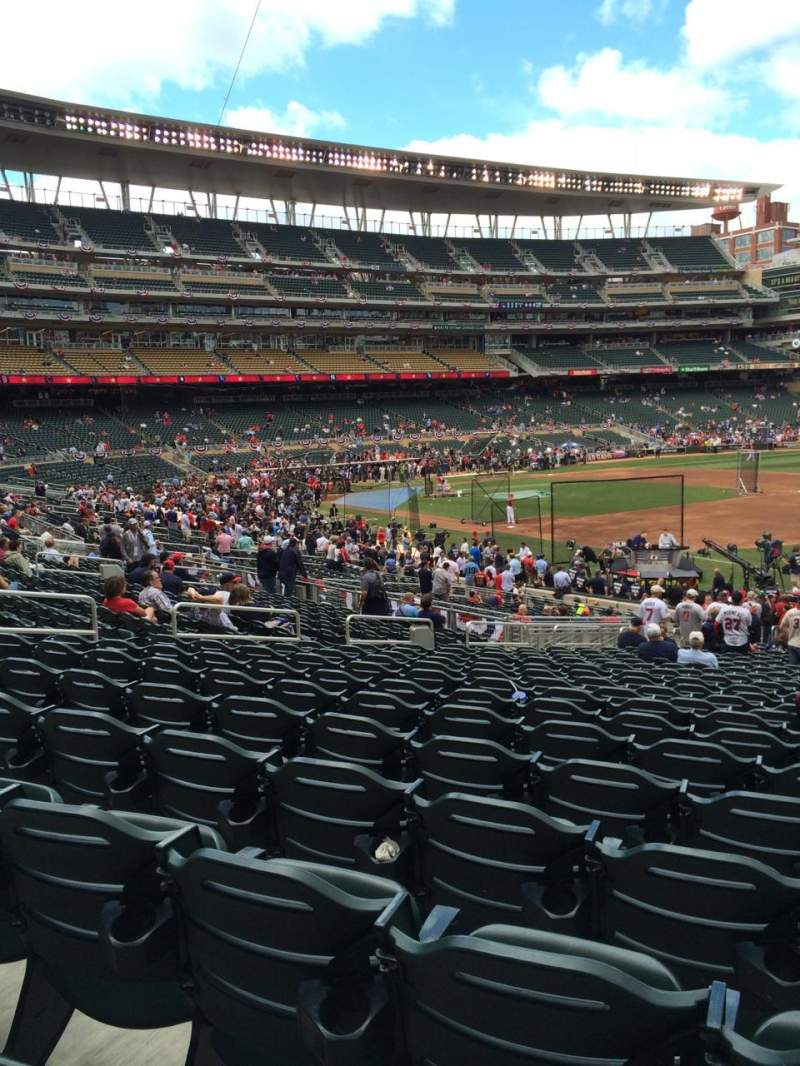 Seating view for Target Field Section 104 Row 33 Seat 10