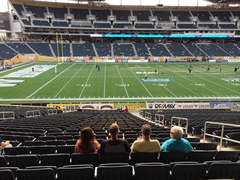 Seating view for Investors Group Field Section 111 Row  28 Seat 5