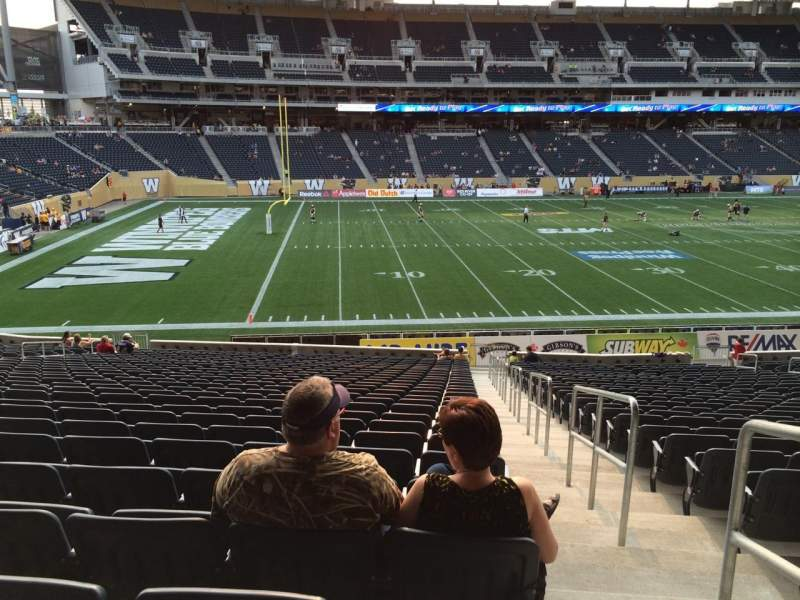 Seating view for Investors Group Field Section 111 Row 28 Seat 1