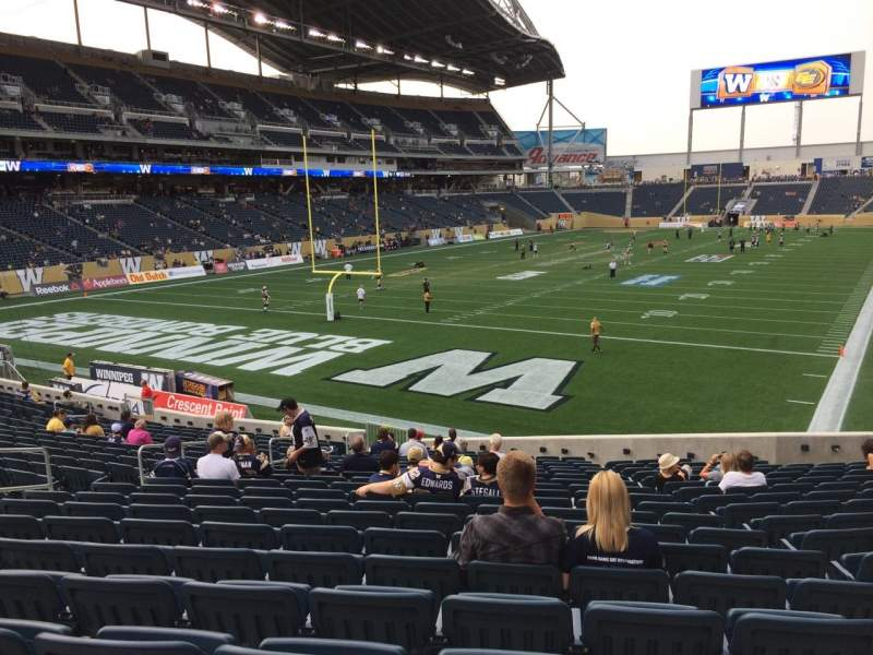 Seating view for Investors Group Field Section 116 Row 22 Seat 18