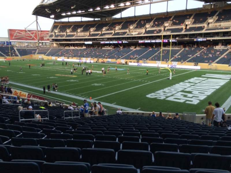 Seating view for Investors Group Field Section 123 Row 24 Seat 10