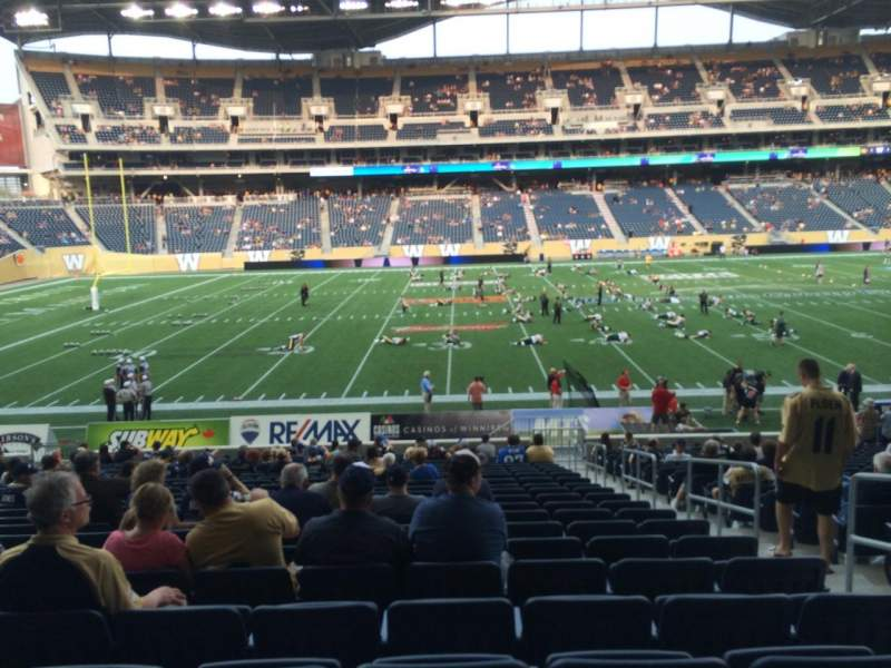 Seating view for Investors Group Field Section 132 Row 23 Seat 4