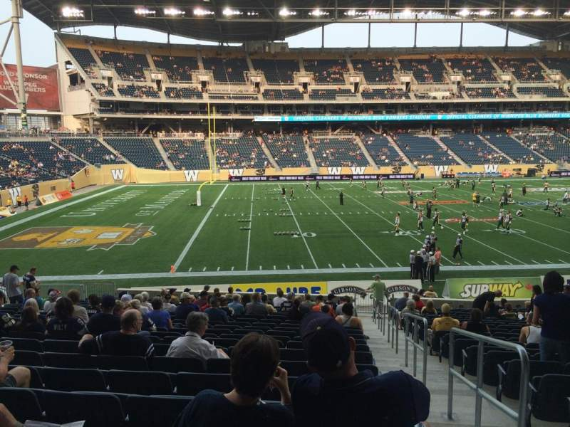 Seating view for Investors Group Field Section 134 Row 23 Seat 1