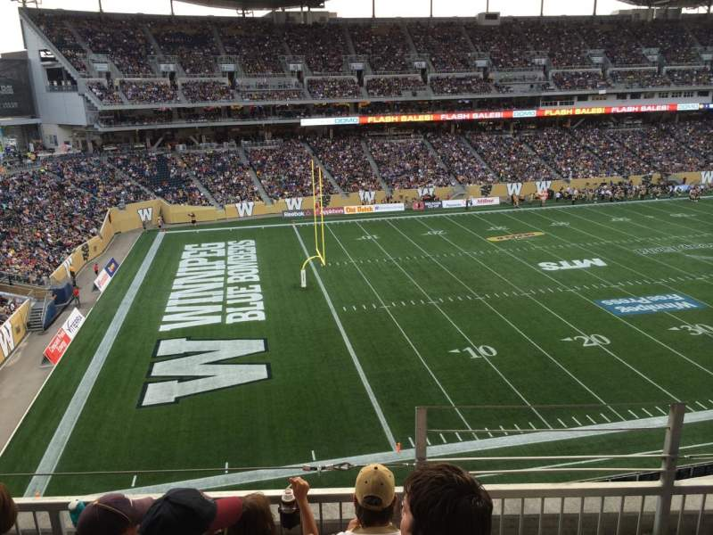 Seating view for Investors Group Field Section 213 Row 4 Seat 1