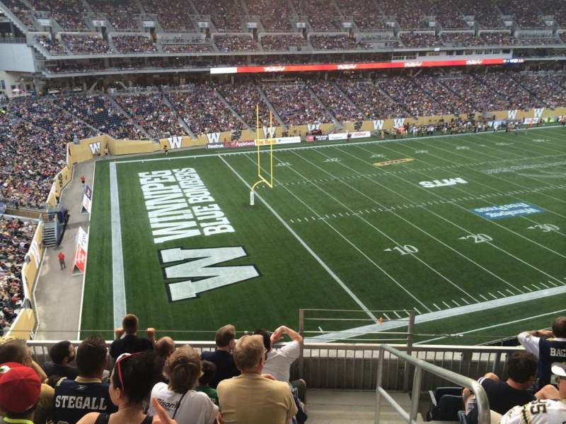 Seating view for Investors Group Field Section 214 Row 6 Seat 1
