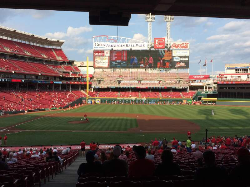 Seating view for Great American Ball Park Section 130 Row UU Seat 17