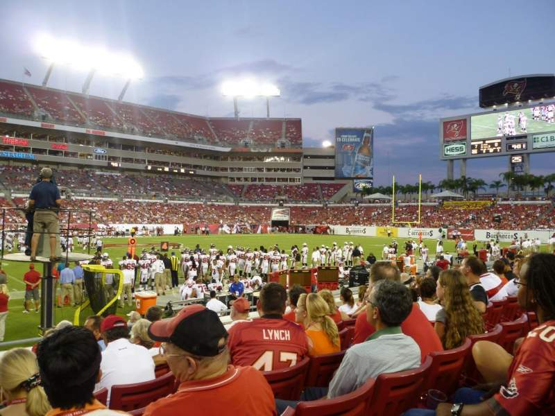 Seating view for Raymond James Stadium Section 109 Row H Seat 1