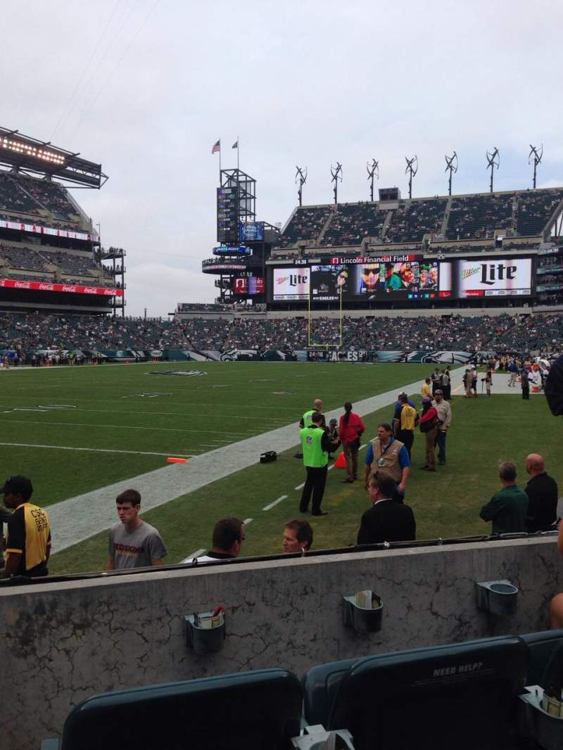 Seating view for Lincoln Financial Field Section 114 Row 3 Seat 6