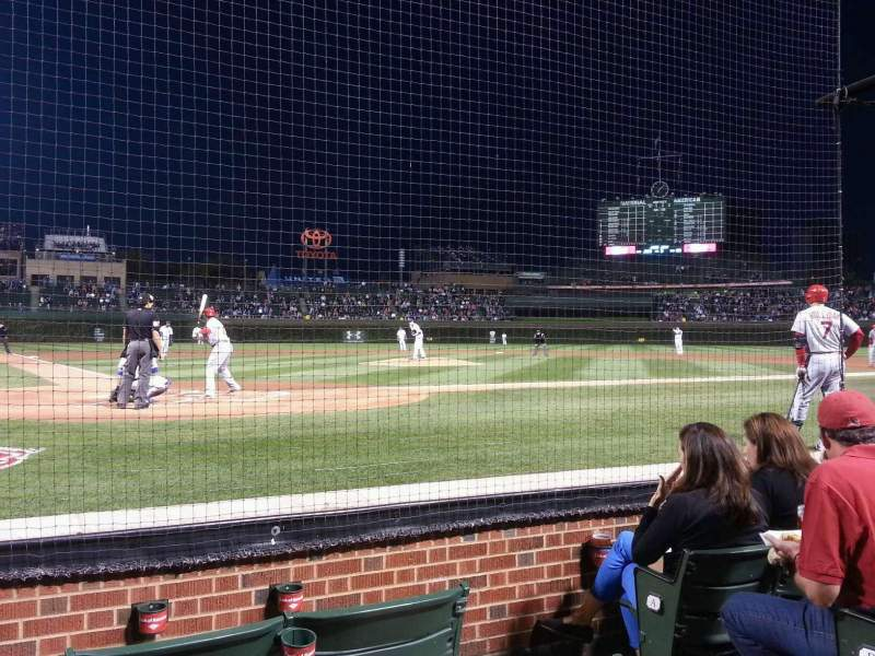 Seating view for Wrigley Field Section Dugout Box 25 Row D Seat 103