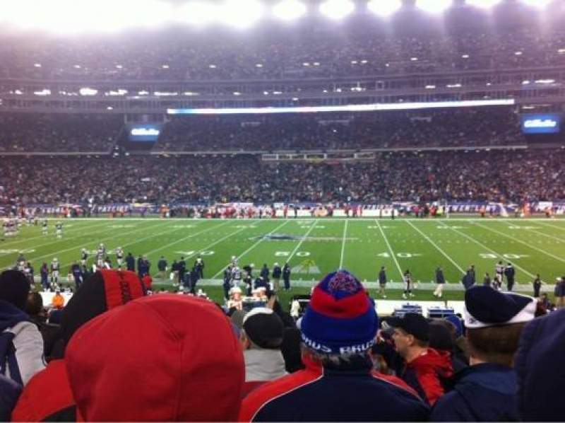 Seating view for Gillette Stadium Section 109 Row 21 Seat 1