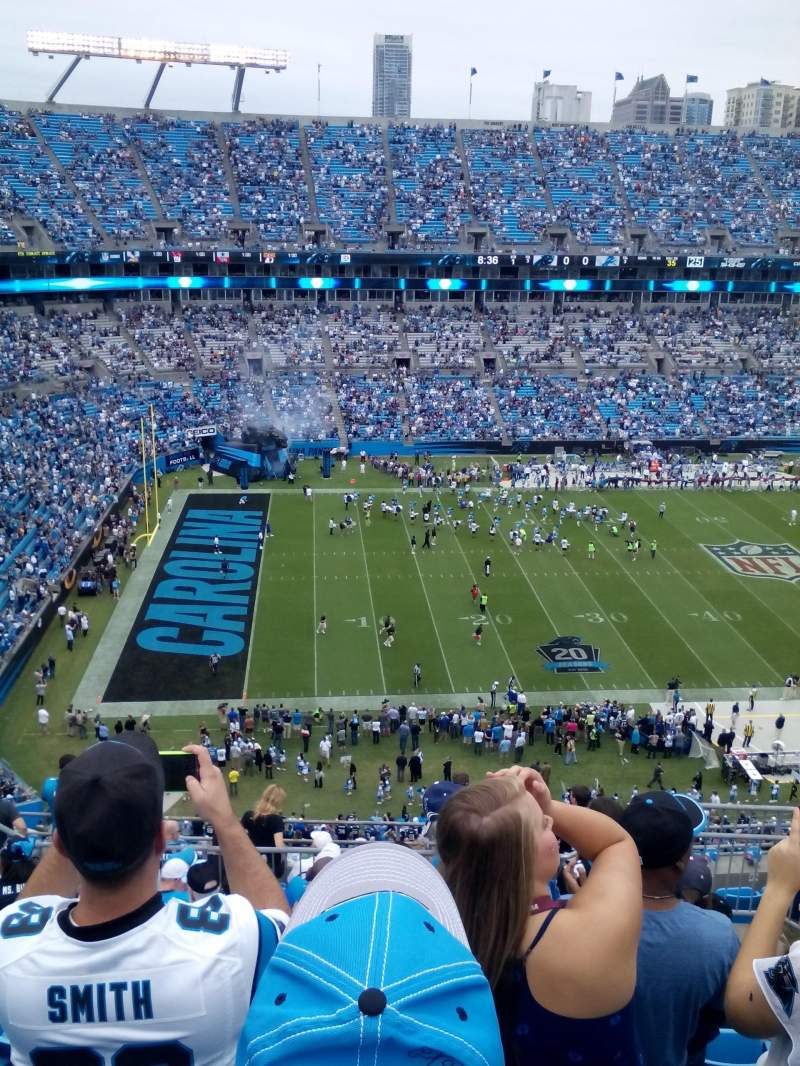 Seating view for Bank of America Stadium Section 545 Row 8 Seat 10