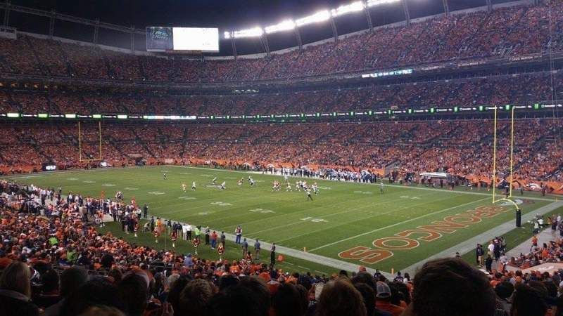 Seating view for Sports Authority Field at Mile High Section 100 Row 36 Seat 21