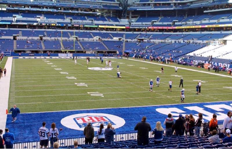 Seating view for Lucas Oil Stadium Section 102 Row 20 Seat 15, 16, 17