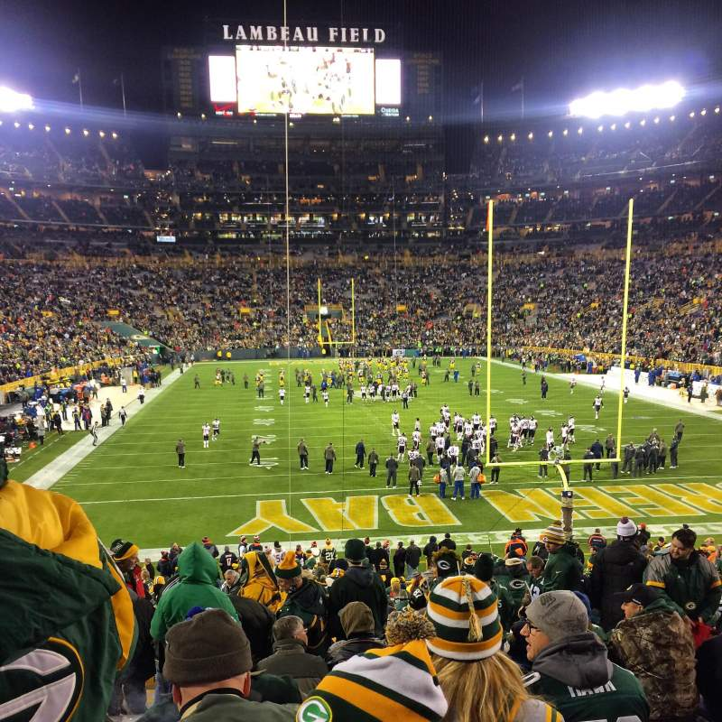 Lambeau field section 101 row 33 seat 14 green bay packers vs