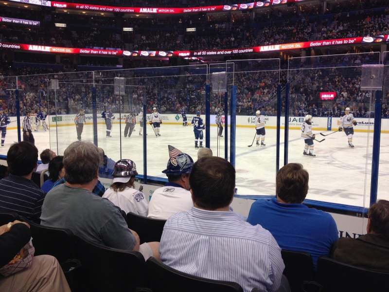 Seating view for Amalie Arena Section 116 Row F Seat 11