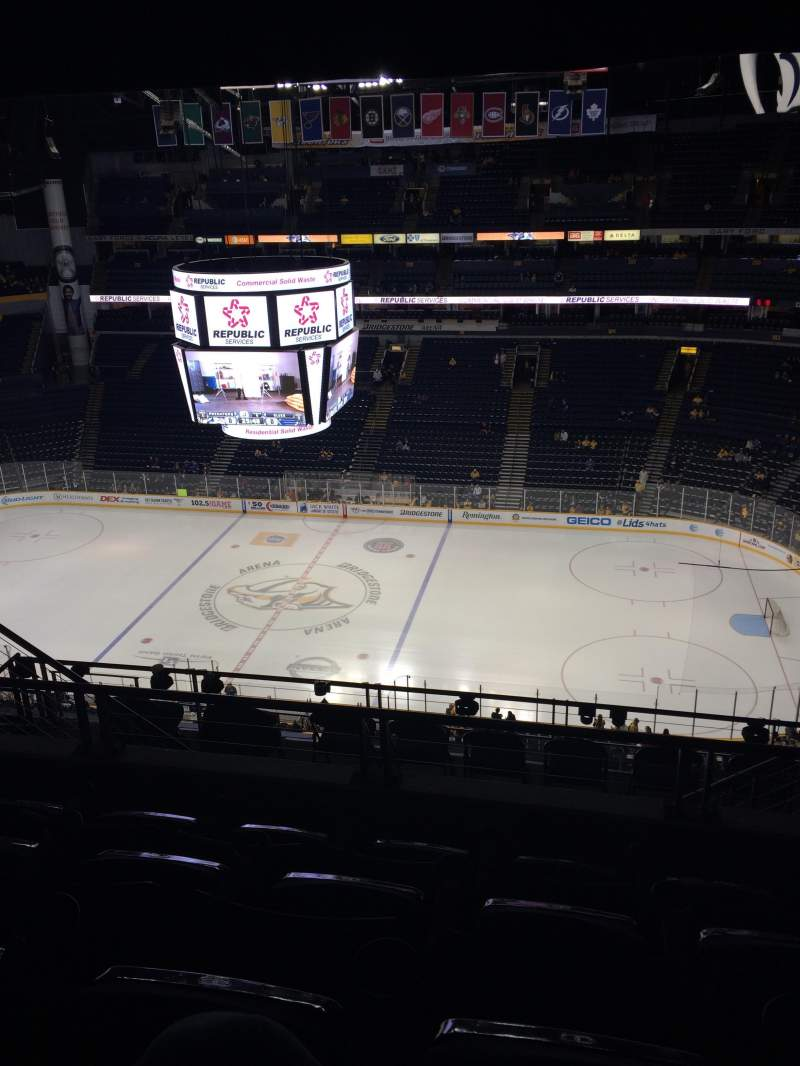 Seating view for Bridgestone Arena Section 327 Row K Seat 8