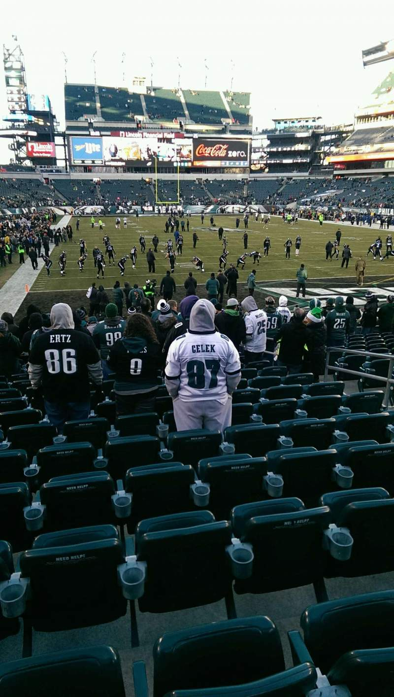 Seating view for Lincoln Financial Field Section 109 Row 16 Seat 7