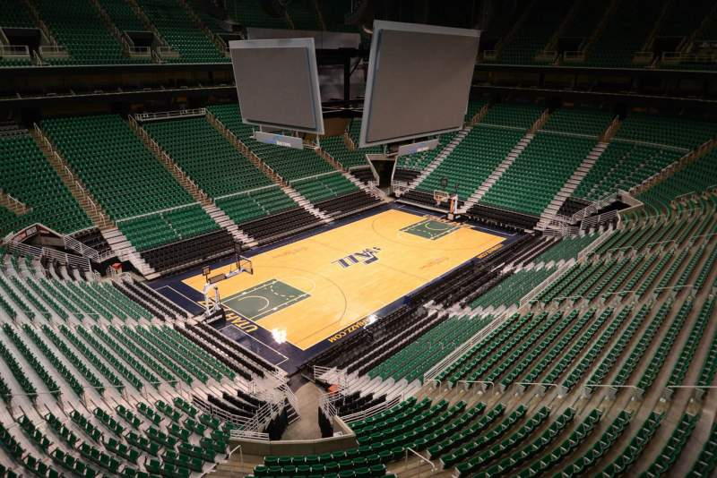 Seating view for Vivint Smart Home Arena Section 117 Row 1