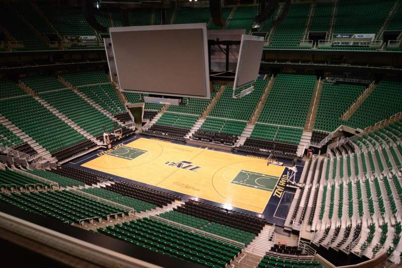 Seating view for Vivint Smart Home Arena Section 129 Row 1