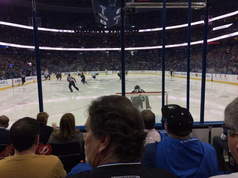 Seating view for Amalie Arena Section 124 Row E Seat 2