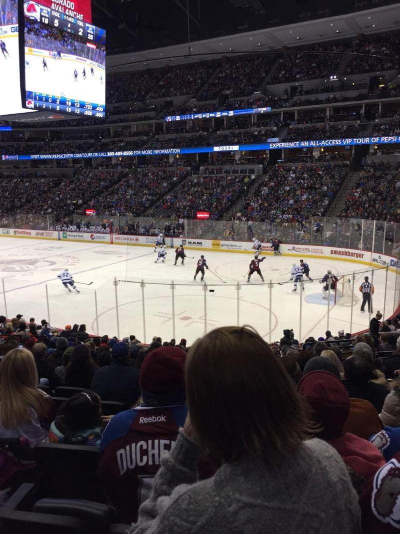 Seating view for Pepsi Center Section 120 Row 18 Seat 7