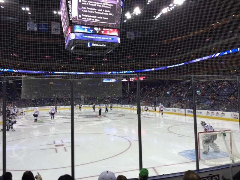 Seating view for Nationwide Arena Section 121 Row F Seat 8