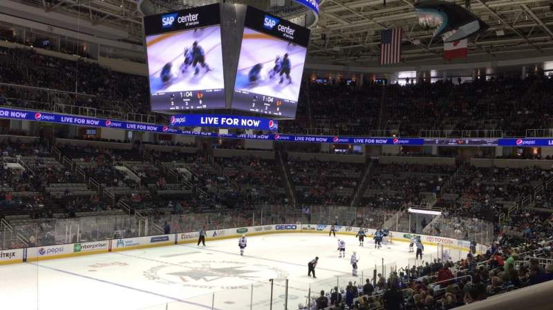 Seating view for SAP Center at San Jose Section 104 Row 21 Seat 1