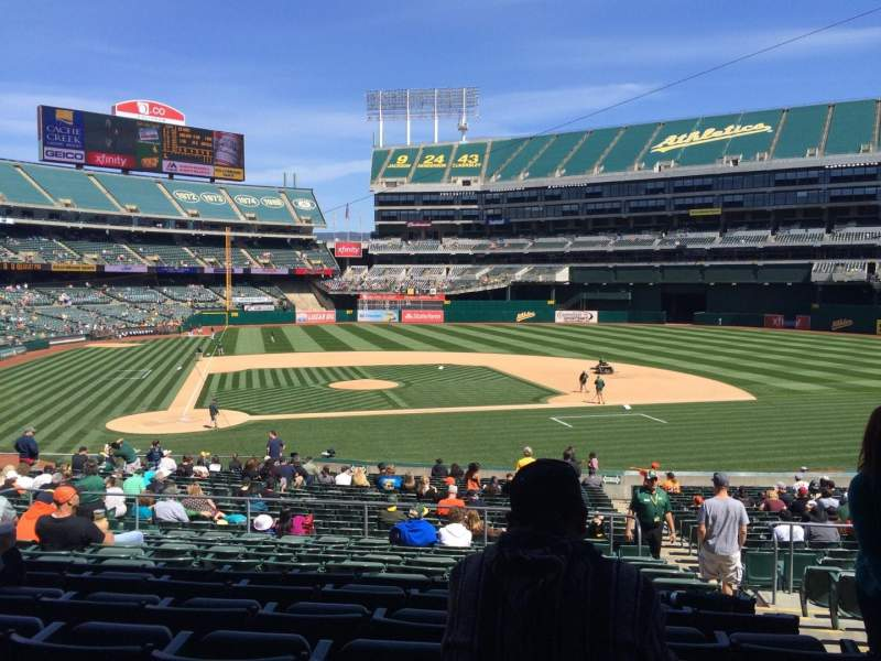 Seating view for Oakland Alameda Coliseum Section 114 Row 32 Seat 3