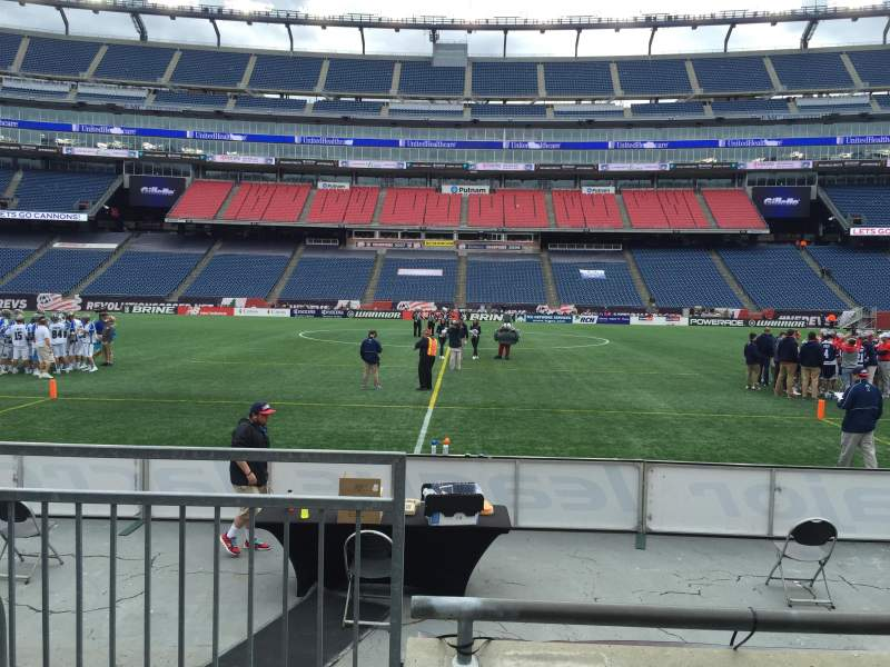Seating view for Gillette Stadium Section 109 Row 3 Seat 20