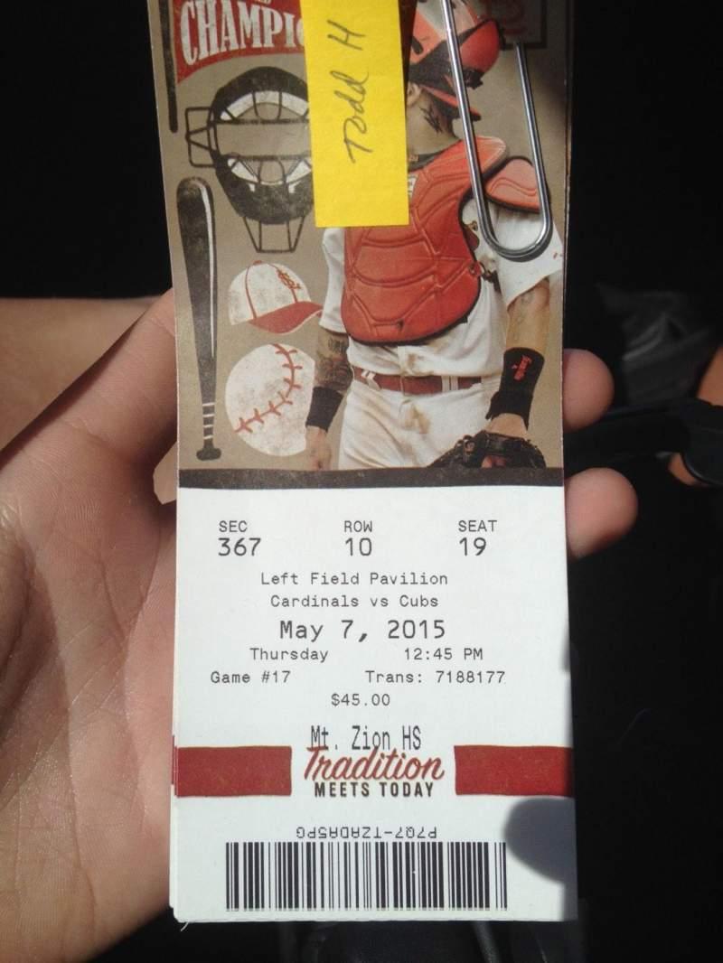 Busch Stadium, section: 367, row: 10, seat: 19