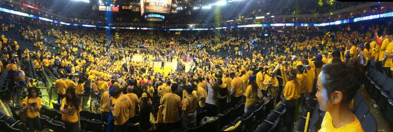 Seating view for Oracle arena Section 108 Row 10 Seat 11