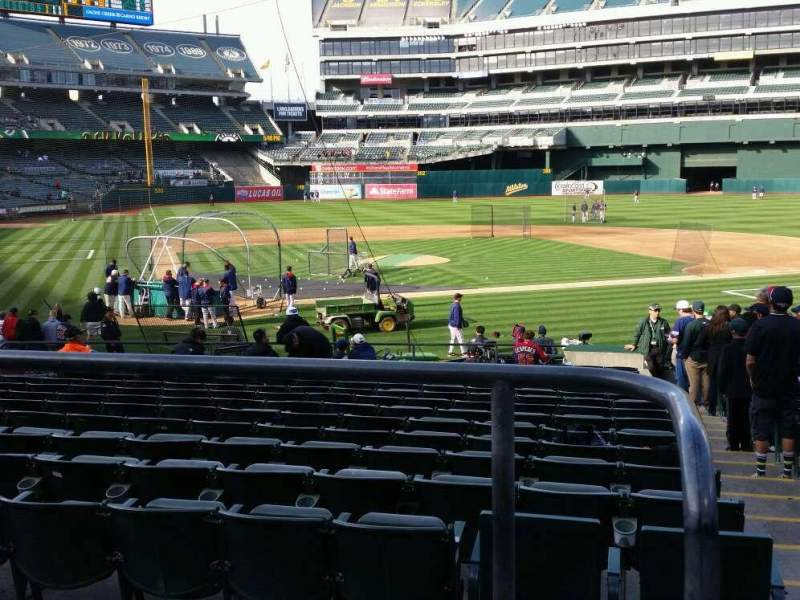 Seating view for Oakland Alameda Coliseum Section 115R Row 22 Seat 1