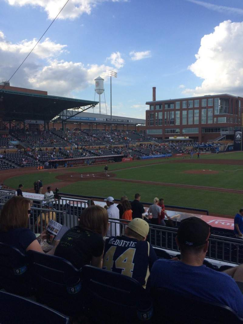 Seating view for Durham Bulls Athletic Park Section 210 Row Q Seat 5