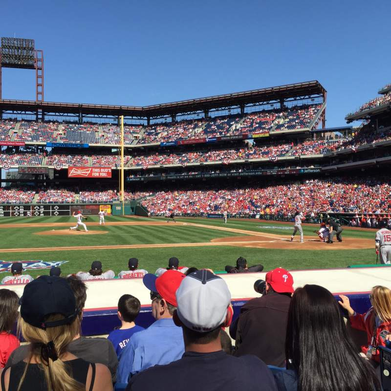 Seating view for Citizens Bank Park Section 130 Row 5 Seat 3