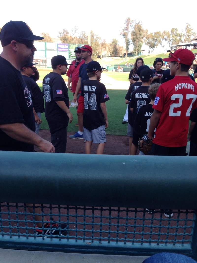 Seating view for Lake Elsinore Diamond Section 107 Row a Seat 4