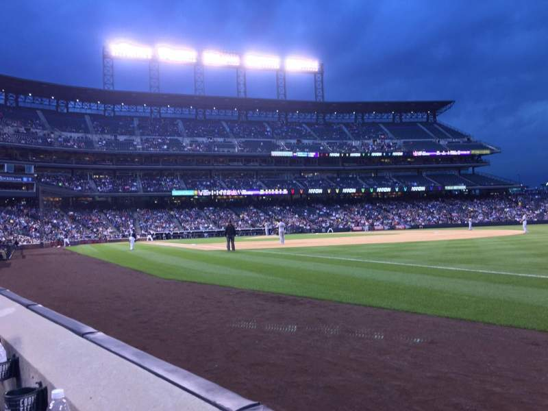 Seating view for Coors Field Section 117 Row 1 Seat 1