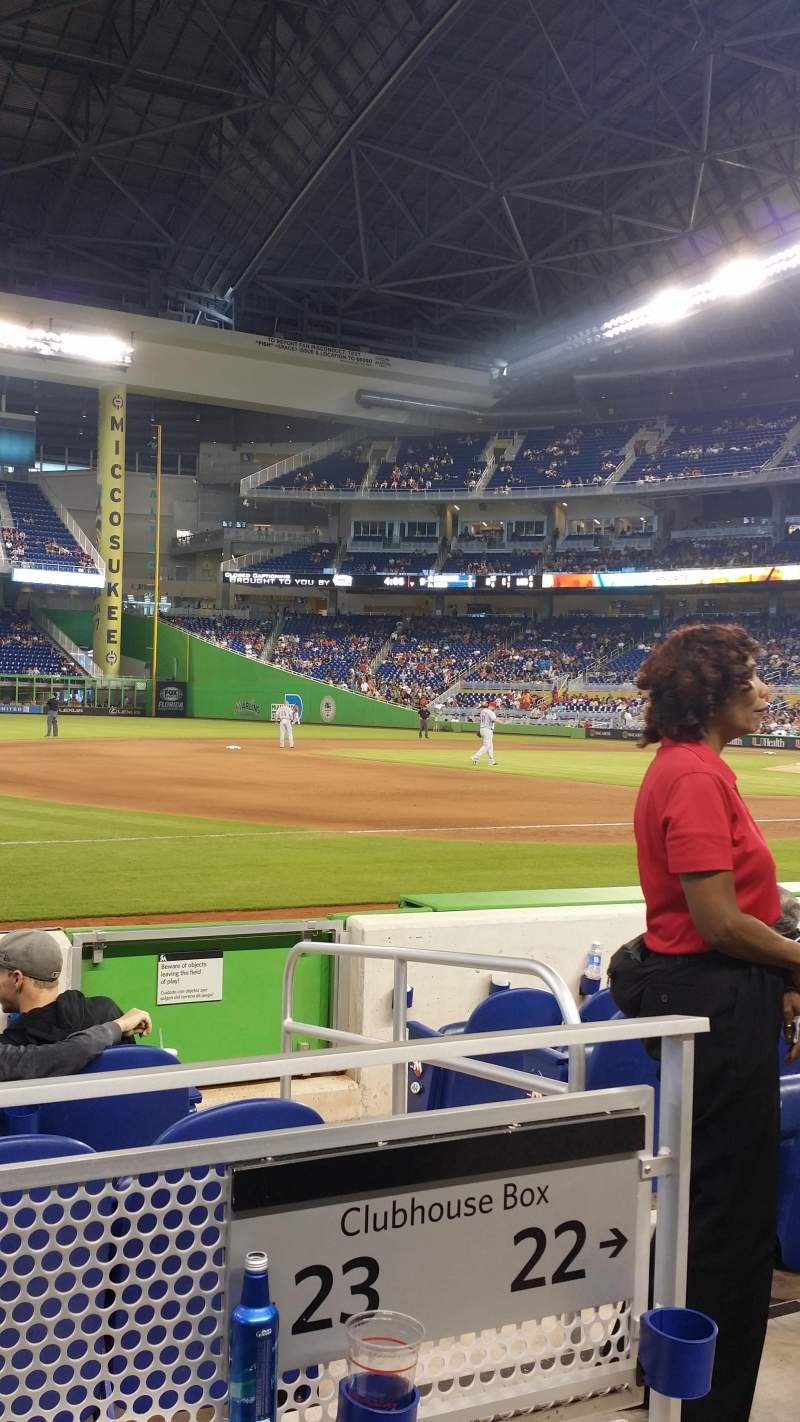 Seating view for Marlins Park Section 23 Row b