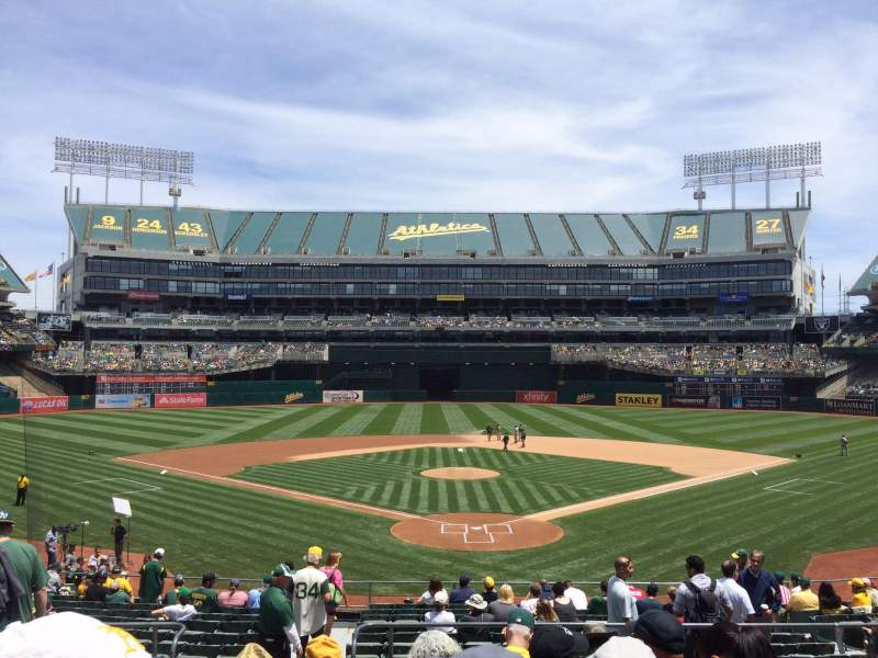 Seating view for Oakland Alameda Coliseum Section 117 Row 29 Seat 11