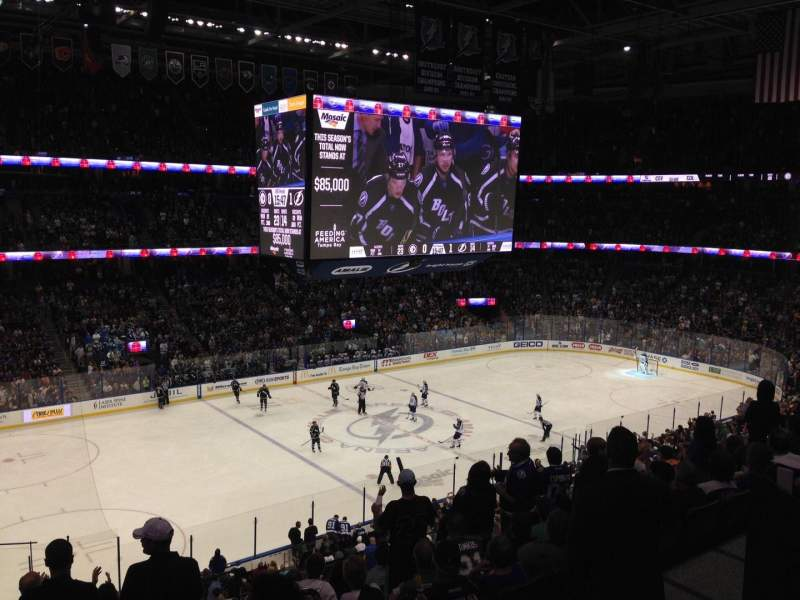 Seating view for Amalie Arena Section 219 Row J Seat 1