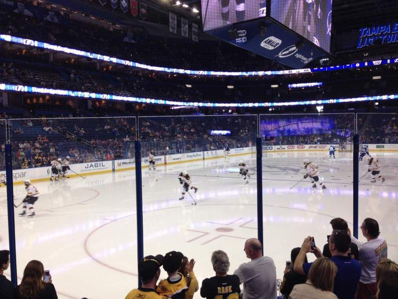 Seating view for Amalie Arena Section 106 Row F Seat 3