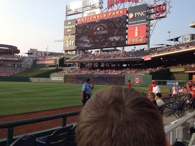 Seating view for Nationals Park Section 133 Row D Seat 15