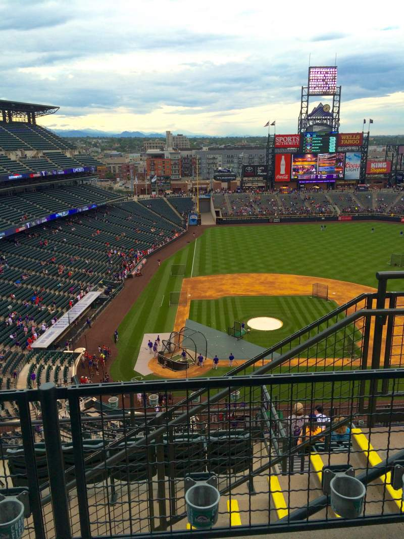 Seating view for Coors Field Section U326 Row 11 Seat 3