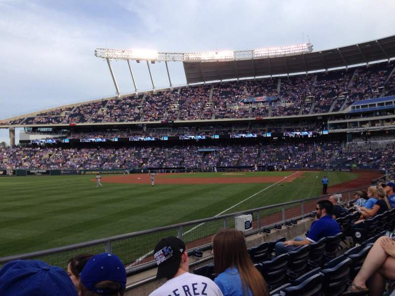 Seating view for Kauffman Stadium Section 112 Row J Seat 1