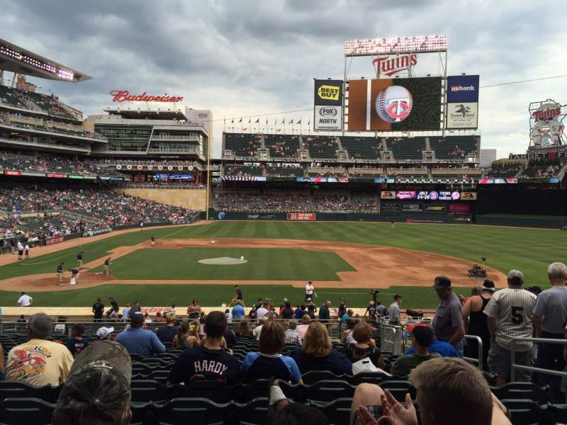 Seating view for Target Field Section 109 Row 17 Seat 5